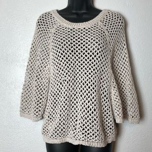 BCBG MAX AZRIA knit sweater holes batwing blouse S
